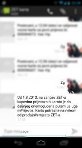 ZET mPrijevoz - SMSovi