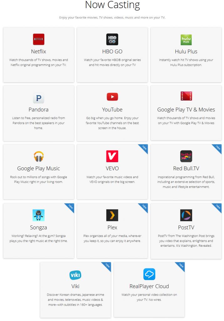 Aktualni popis podržanih aplikacija/servisa uvijek možete pronaći na www.chromecast.com/apps