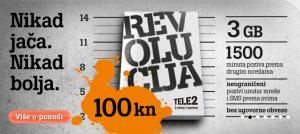 Revolucija za 100 kn promotivni je paket Tele2 - 100 kn i 3GB prvih godinu dana bez ugovorne obveze