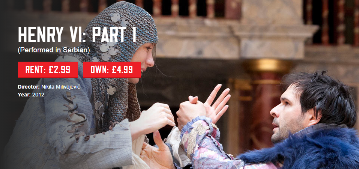 Među 50-tak snimki predstava nalaze se i snimke Shakespeareovih predstava od strane gostujućih kazališta - tako je na srpskom jeziku predstavu Henry VI: dio 1. režirao Nikita Milivojević (direktor beogradskog festivala BITEF)