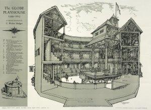 Crtež izvornog kazališta Globe 1599.-1613., prije nego je isto izgorjelo da bi bilo obnovljeno 1614. i potrajalo do 1644. godine