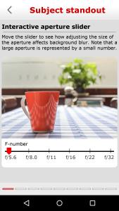 Interaktivno učenje efekta otvora blende - povlačenjem klizača odmah se prikazuje kako se različite aperture size odražava na konačnu fotografiju